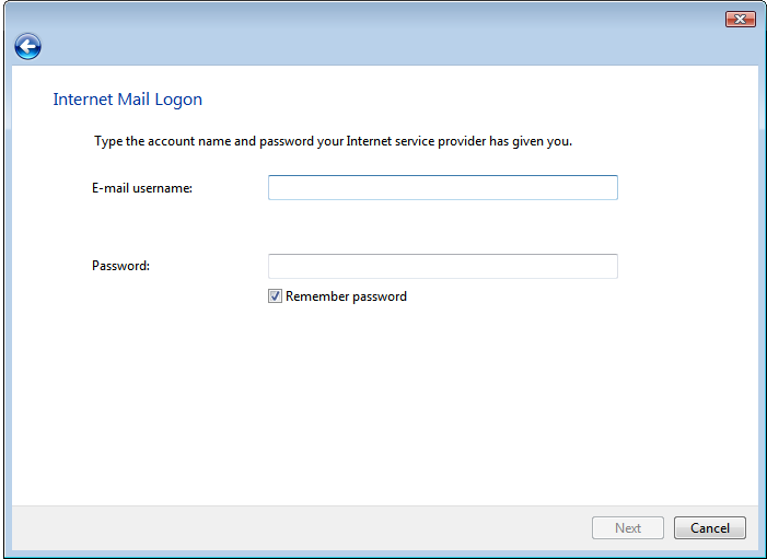 Internet Mail Logon